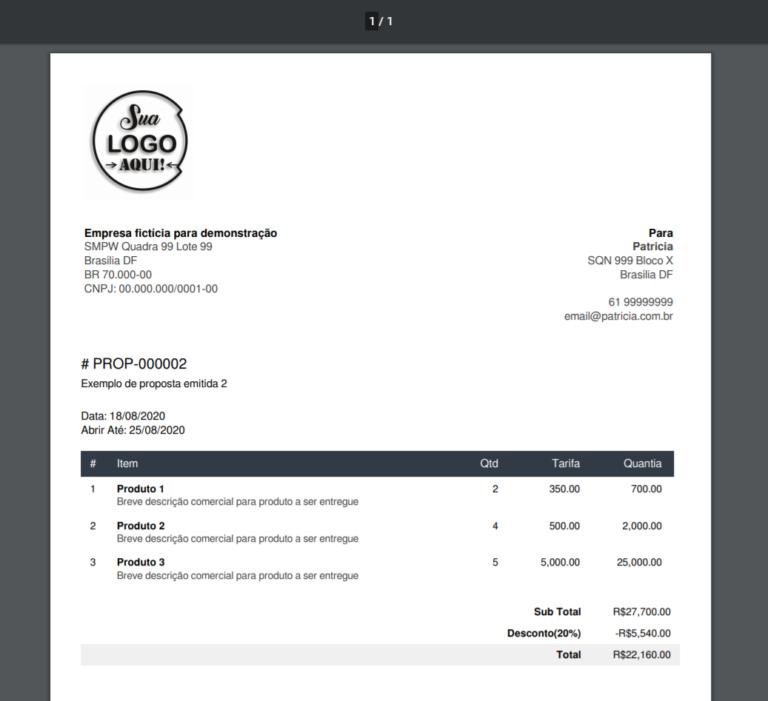 Proposta emitida pelo sistema LUVA CRM 768x701 - LUVA CRM