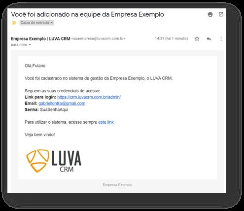 email de envio das credenciais - Acesso ao sistema